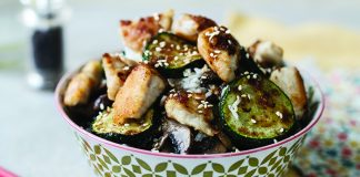 Crispy Chinese chicken with mushrooms and soy