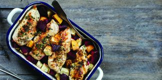 One-pan chicken with honeyed winter veg