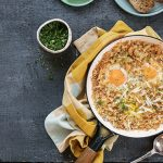 Crispy baked eggs with onions and cheese
