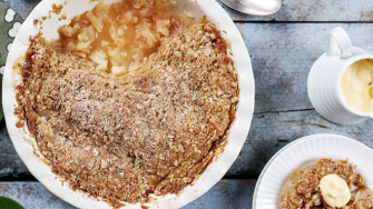 Traditional apple crumble