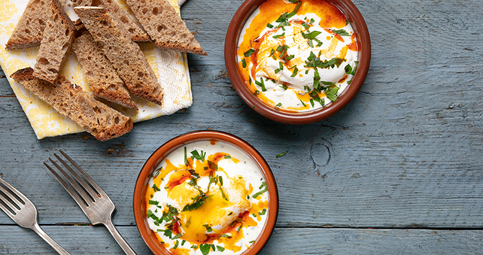 Turkish Poached Eggs chilli butter and yoghurt Easy Food