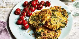 Feta and spinach potato rosti with roasted tomatoes Easy food