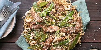 Sticky Pork and noodles Easy food