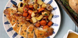 Simple_Roast_Chicken_Over_Veg_Easy Food