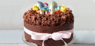 Easter Chocolate nest biscuit cake