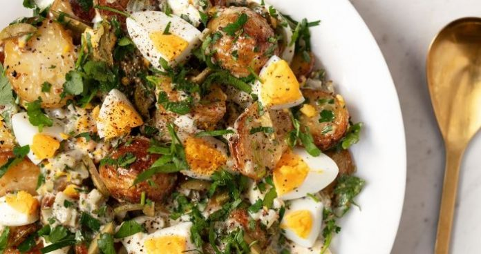 Roasted potato salad with eggs and pickled dressing easy food