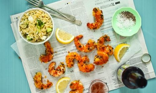 Beer-fried prawns and lemon orzo salad_easyfood
