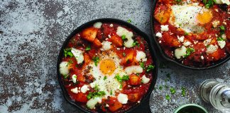 chilli tomato baked eggs and potatoes