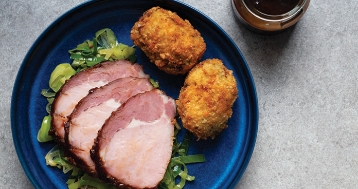 BACON WITH MUSTARD MARMALADE GLAZE AND CABBAGE CROQUETTES