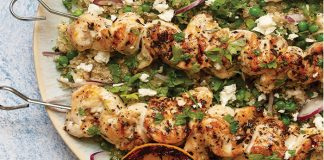 Herby chicken skewers with spring quinoa