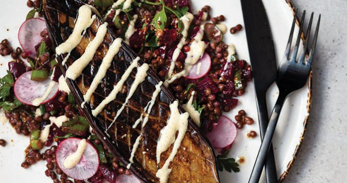 Roasted aubergine with lentil and herb salad