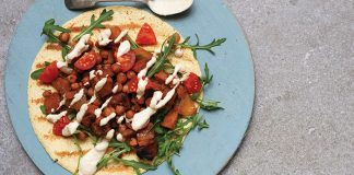 Roasted squash and chickpea wraps