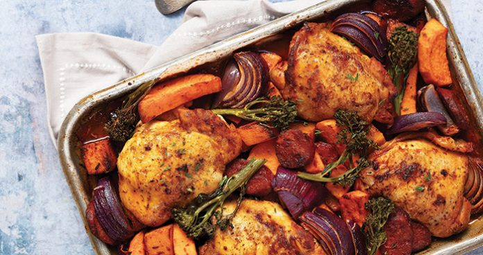 Spicy harissa chicken traybake