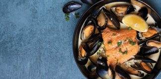 salmon and creamy mussels