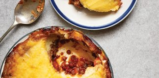 slow-cooked sheperds pie with garlic mash