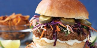 Southern fried chicken burger with honey mayo