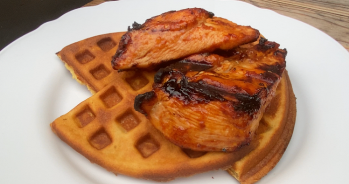 BBQ chicken and waffles easy food