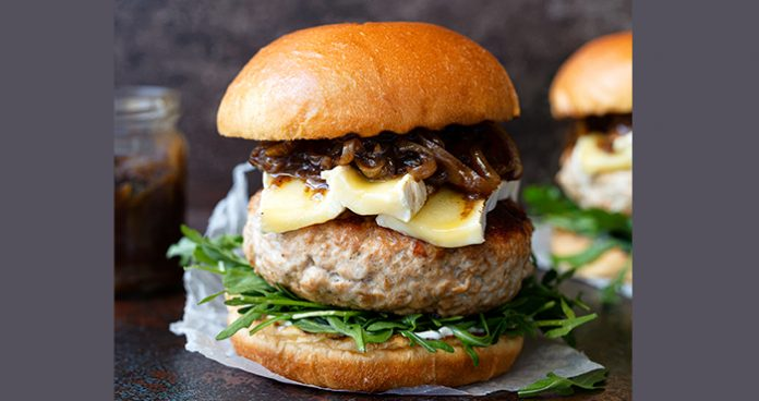 turkey burger with stout caramelised onion and brie