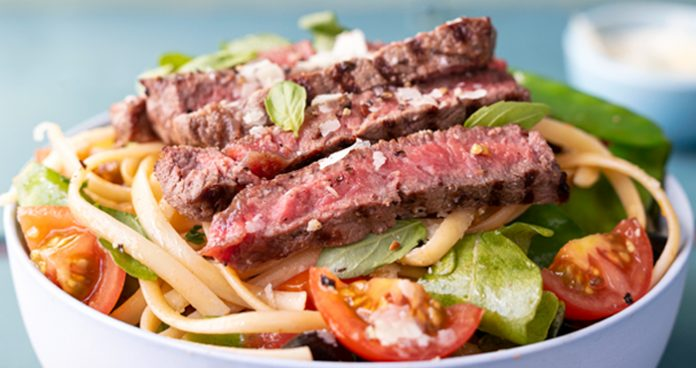 Summertime steak linguine with tomatoes and olives