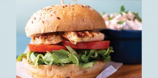 peri peri halloumi burger with corn salad
