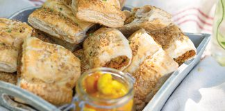 Easy chickpea spiced sausage rolls