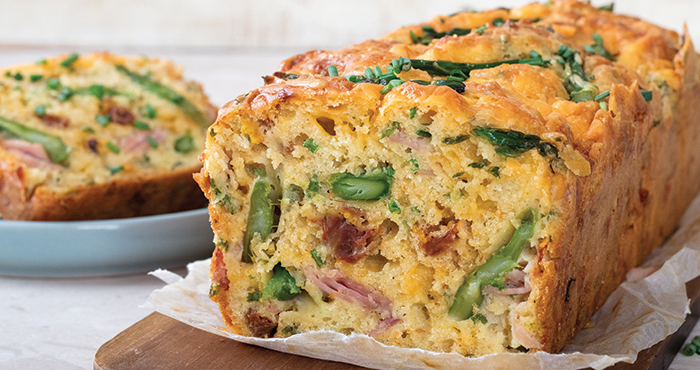 Asparagus loaf with ham tomatoes and cheese