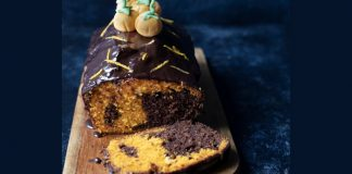 Halloween chocolate orange loaf cake