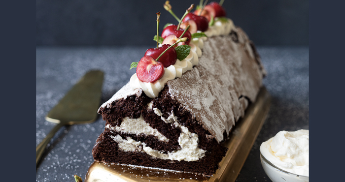 chocolate roulade with caramel cream