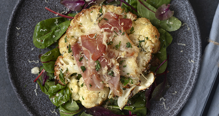 Issue 152 January 2021 Easy Food cauliflower steaks with Taleggio and Parma ham