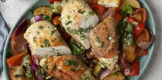 Chicken in Parma ham with Mediterranean vegetables