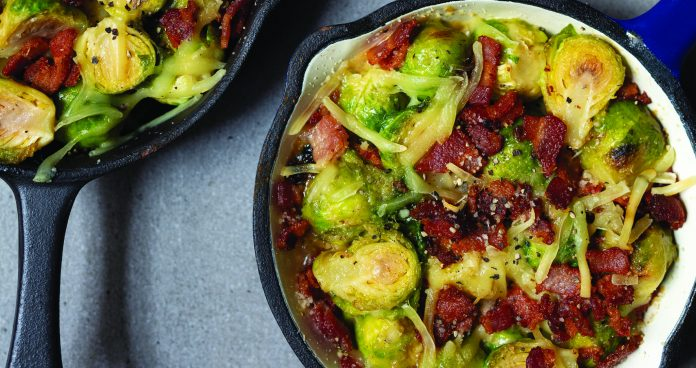 Creamy baked Brussels sprouts with bacon