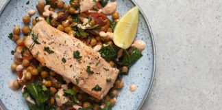 Harissa salmon with warm chickpea salad Easy Food