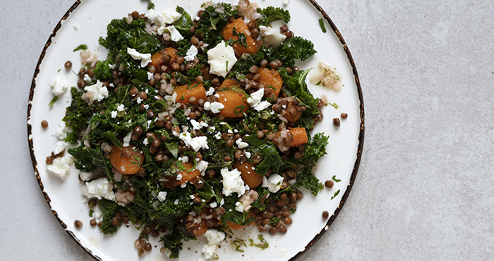 Winter Salad Squash Kale Goats Cheese Lentils Easy Food 153