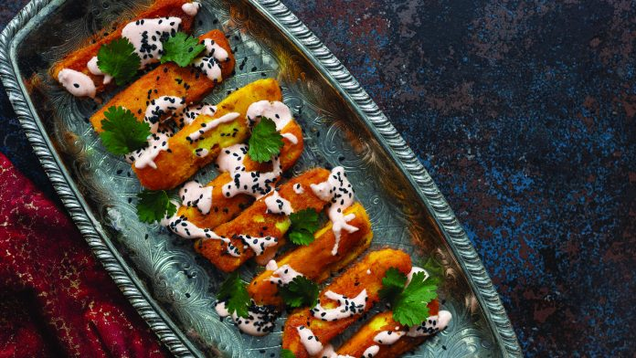 Fried halloumi with honey harissa drizzle