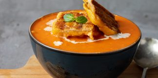 Tomato and basil soup with cheesy croutons