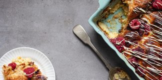White chocolate and raspberry croissant pudding