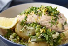 Salmon with spring stew Easy Food