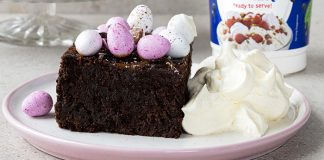Easter salted caramel brownies with whipped cream by avonmore