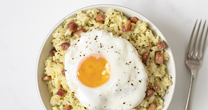 Pancetta and egg risotto Easy Food