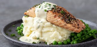 Salmon in a whiskey peppercorn cream sauce by avonmore