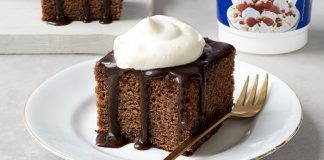Salted caramel sticky toffee pudding squares by Avonmore
