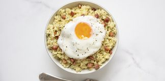 Pancetta and egg risotto