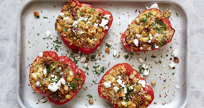 Couscous stuffed Roast Peppers Easy Food Summer Special June July 2021 issue 157