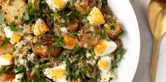 Roasted potato egg salad with pickle dressing