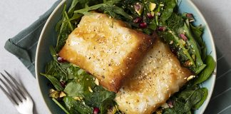 Golden goat's feta with herby salad Easy Food