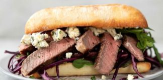 Steak and blue cheese ciabattas with beetroot slaw